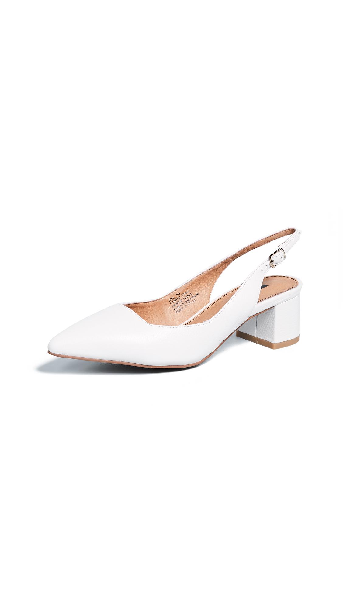 MATIKO Kassie Block Heel Pumps in White