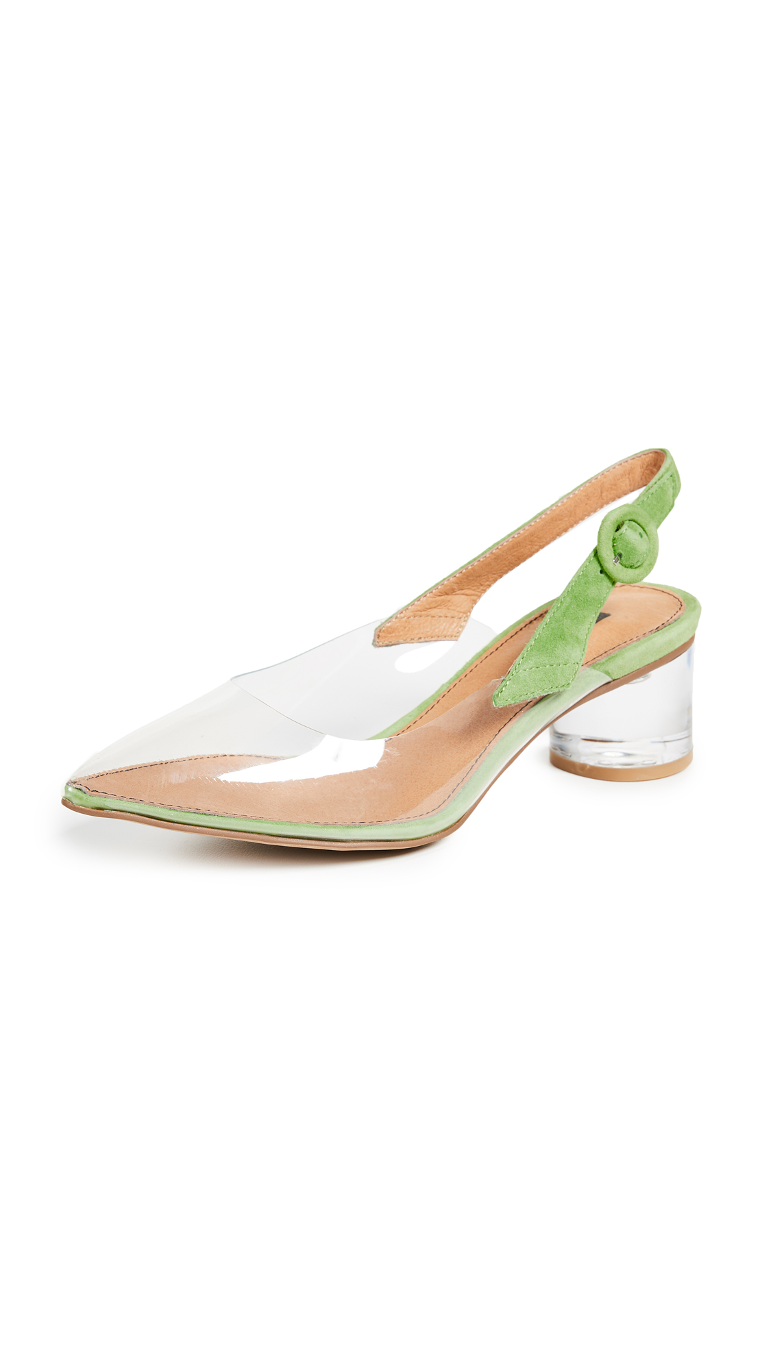 Matiko Zuma Block Heel Pumps - Clear/Green