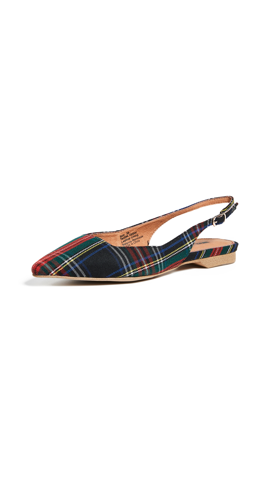 Matiko Lori Point Toe Slingback Flats - Green Tartan
