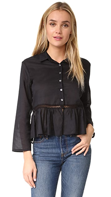 MATIN Gathered Top with Trim