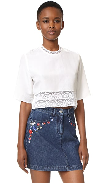 MATIN French Lace Cropped Blouse - White