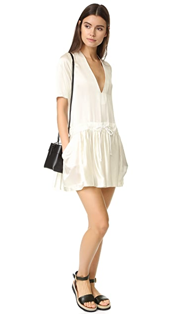 MATIN Classic V Neck Drawstring Dress