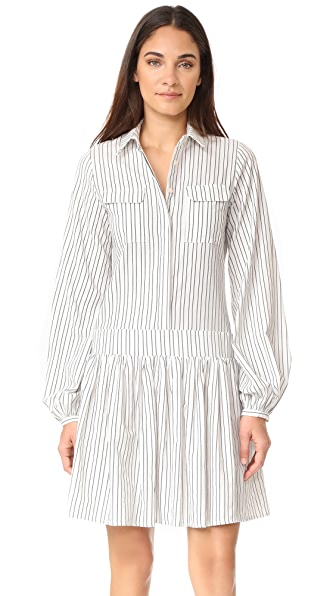 MATIN Collared Dress - White with Black Stripe