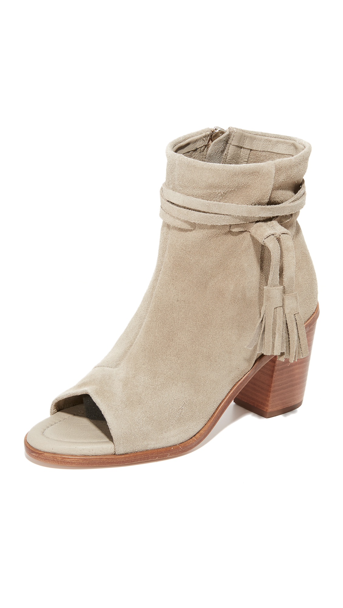 Matt Bernson Billie Tassel Open Toe Booties - Taupe