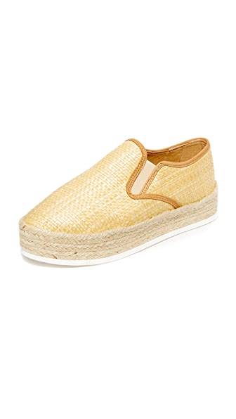 Matt Bernson Azure Platform Espadrille Slip On Sneakers - Natural/Wheat