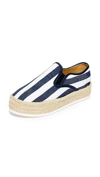 Matt Bernson Azure Platform Espadrille Slip On Sneakers - Marbella Navy/White Stripe