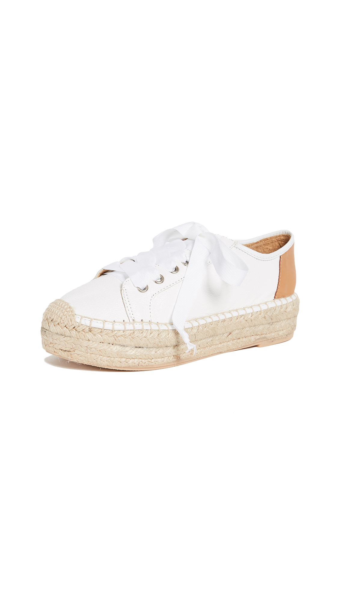 Matt Bernson Eze Leather Espadrille Sneakers - Wheat/White