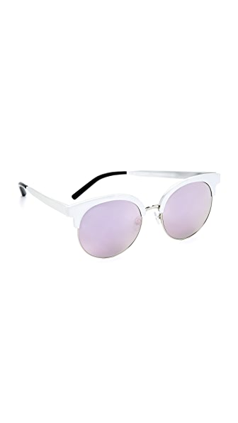 Matthew Williamson Round Mirrored Sunglasses - Gray Silver/Blush