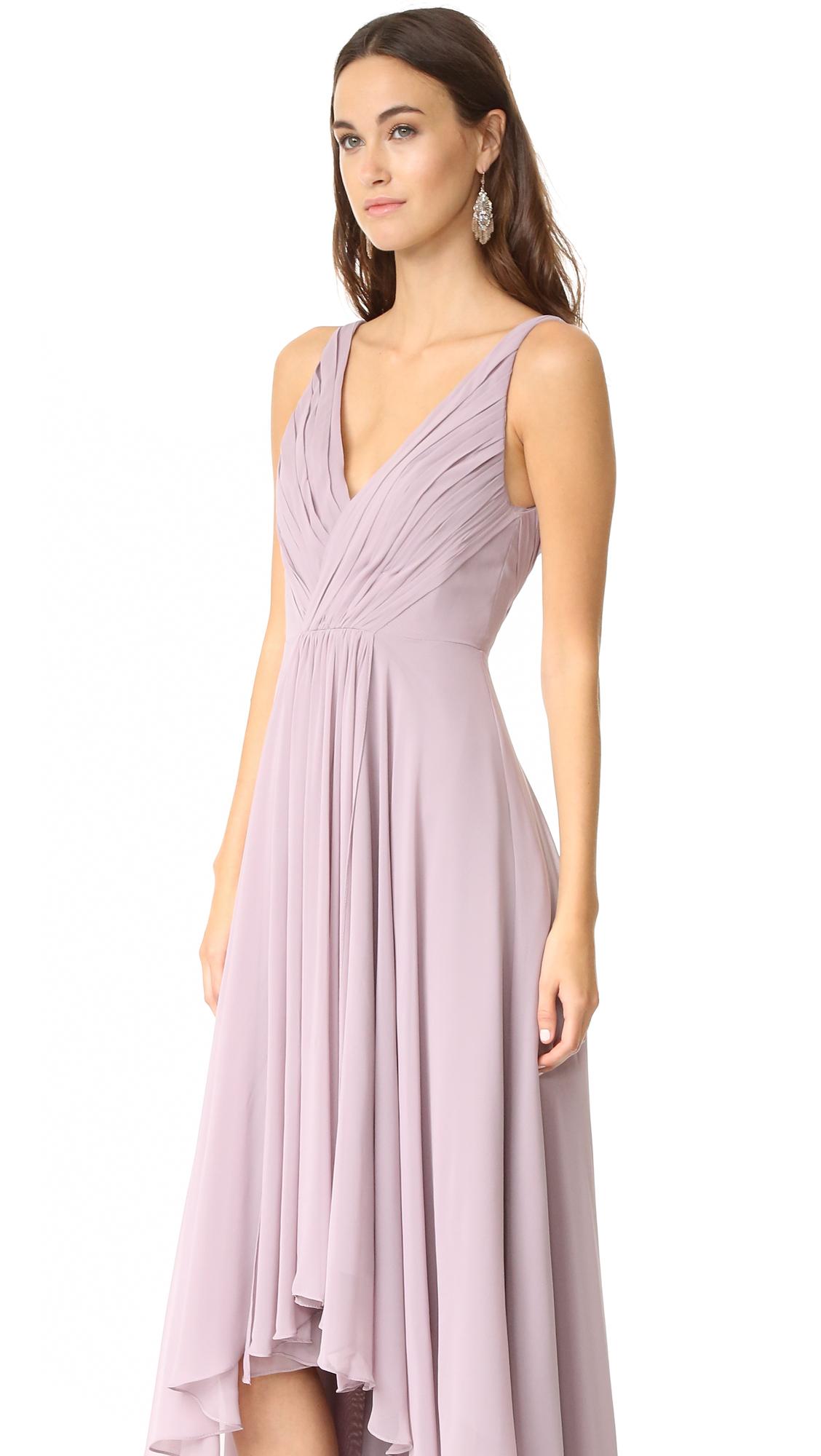 Monique Lhuillier Bridesmaids High Low Chiffon Gown | SHOPBOP
