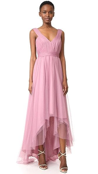 Monique Lhuillier Bridesmaids Tulle High Low Gown
