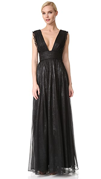 Monique Lhuillier Bridesmaids V Neck Metallic Ruffle Gown In Charcoal