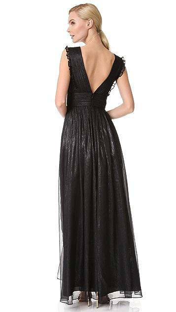 Monique Lhuillier Bridesmaids V Neck Metallic Ruffle Gown