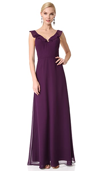Monique Lhuillier Bridesmaids V Neck Ruffle Gown In Plum