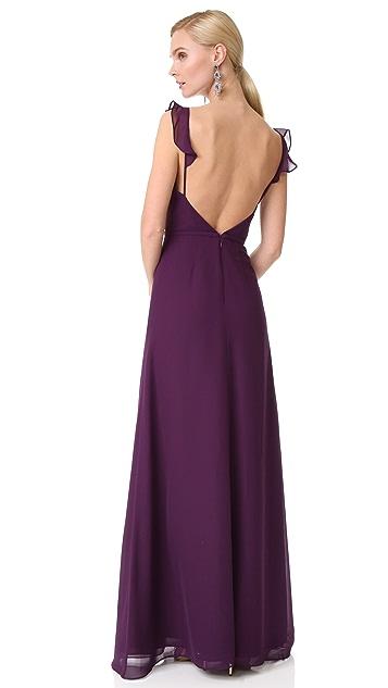 Monique Lhuillier Bridesmaids V Neck Ruffle Gown