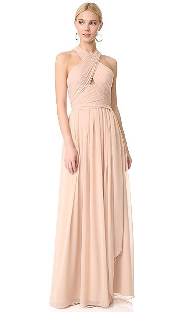 Monique Lhuillier Bridesmaids Halter Gown with Cutout