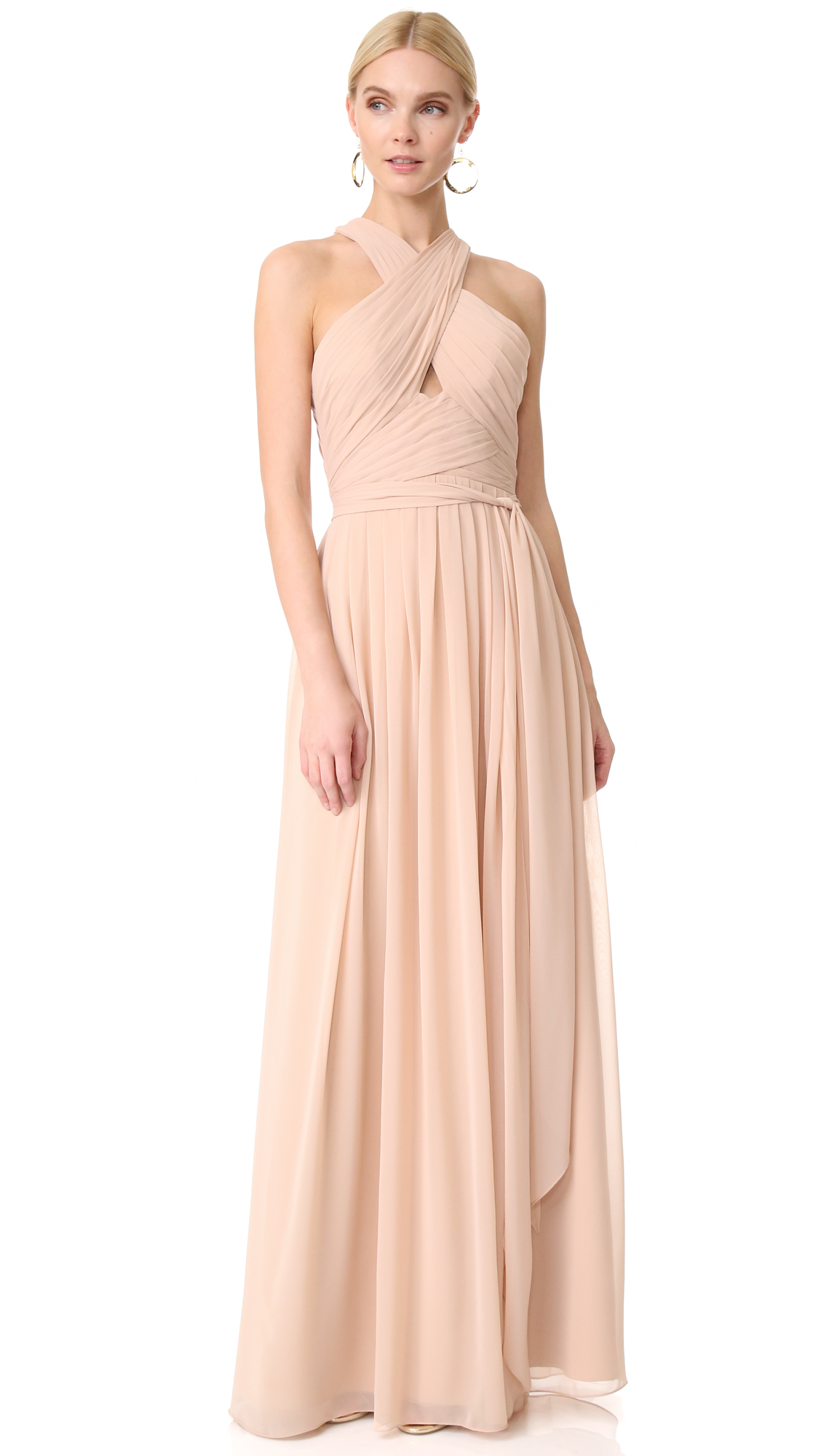 Monique Lhuillier Bridesmaids Halter Gown with Cutout - Bamboo