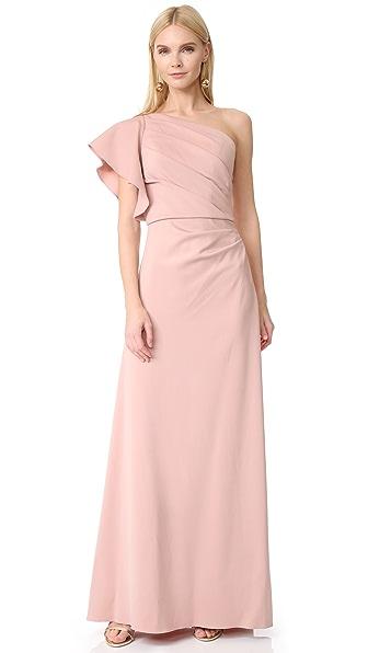 Monique Lhuillier Bridesmaids One Shoulder Gown In Shell