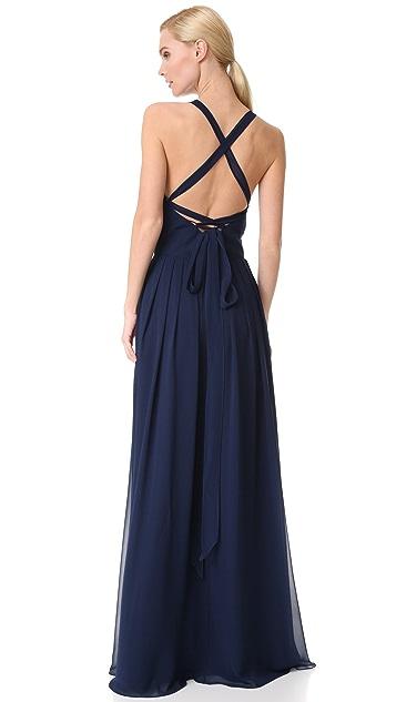 Monique Lhuillier Bridesmaids V Neck Gown with Tie Back