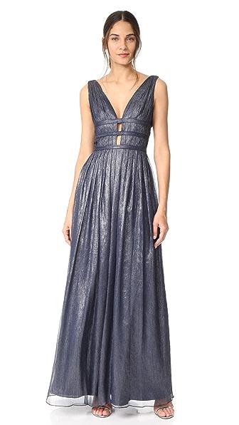 Monique Lhuillier Bridesmaids Navy Blue V Neck Gown