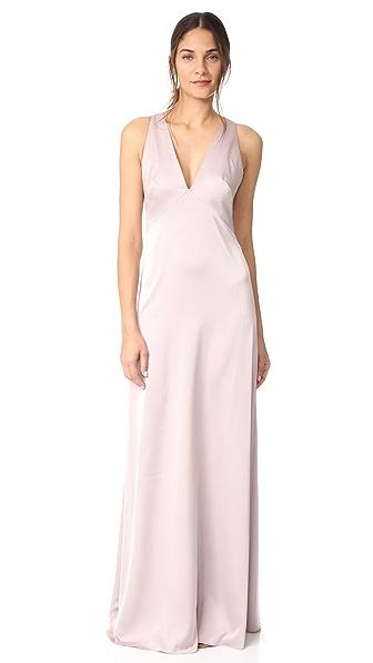 Monique Lhuillier Bridesmaids V Neck Gown