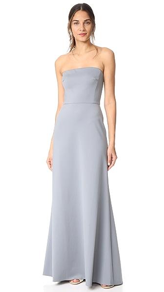 Monique Lhuillier Bridesmaids Strapless Gown In Sea