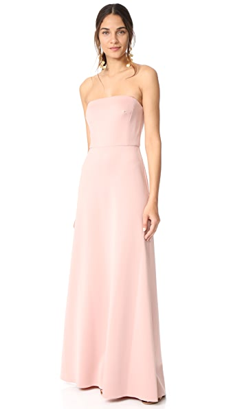 Monique Lhuillier Bridesmaids Strapless Gown In Shell