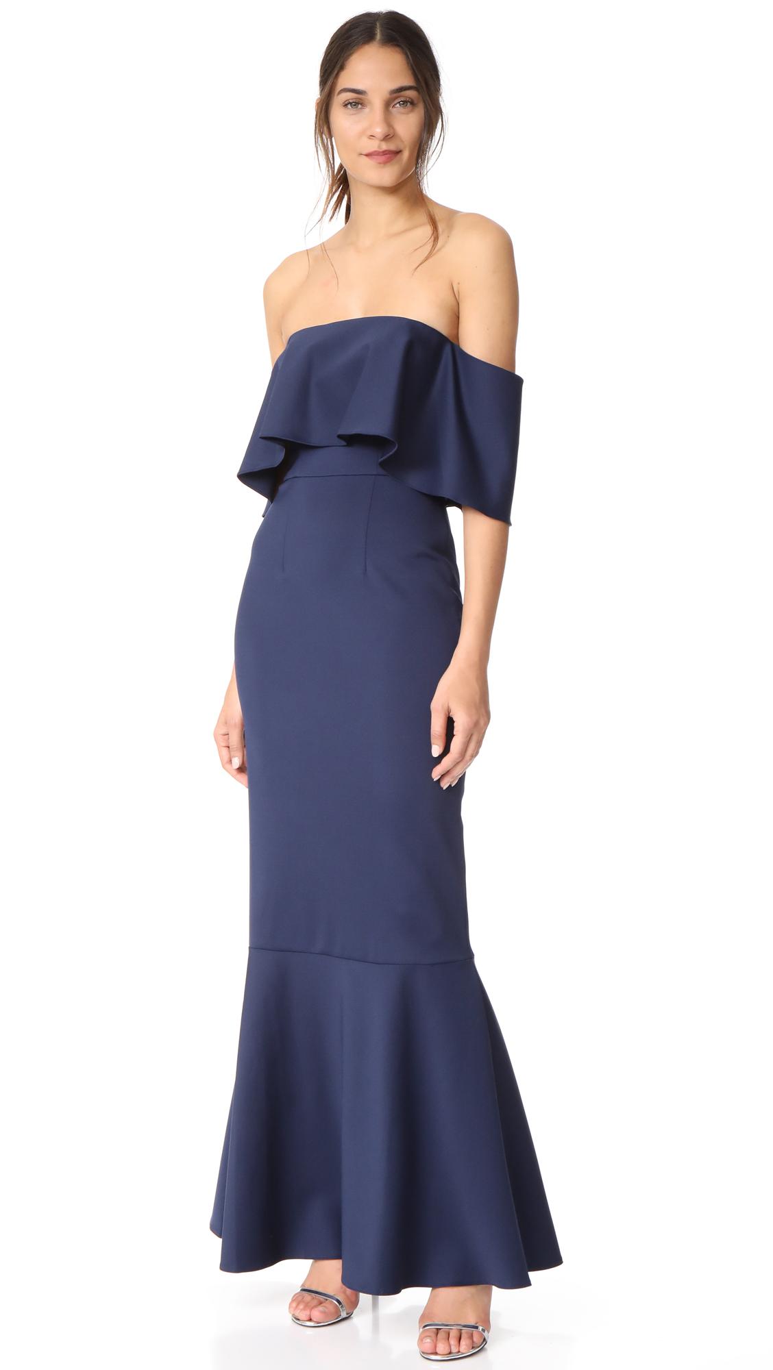 Monique Lhuillier Bridesmaids Off the Shoulder Gown - Navy