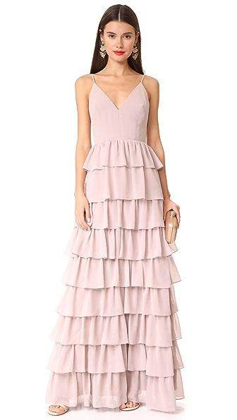 Monique Lhuillier Bridesmaids Tiered Dress In Rose
