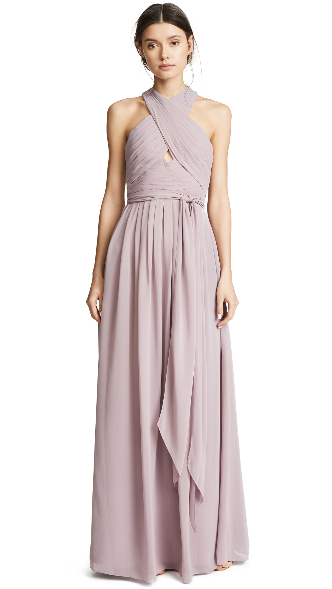 Monique Lhuillier Bridesmaids Halter Gown with Cutout In Lilac