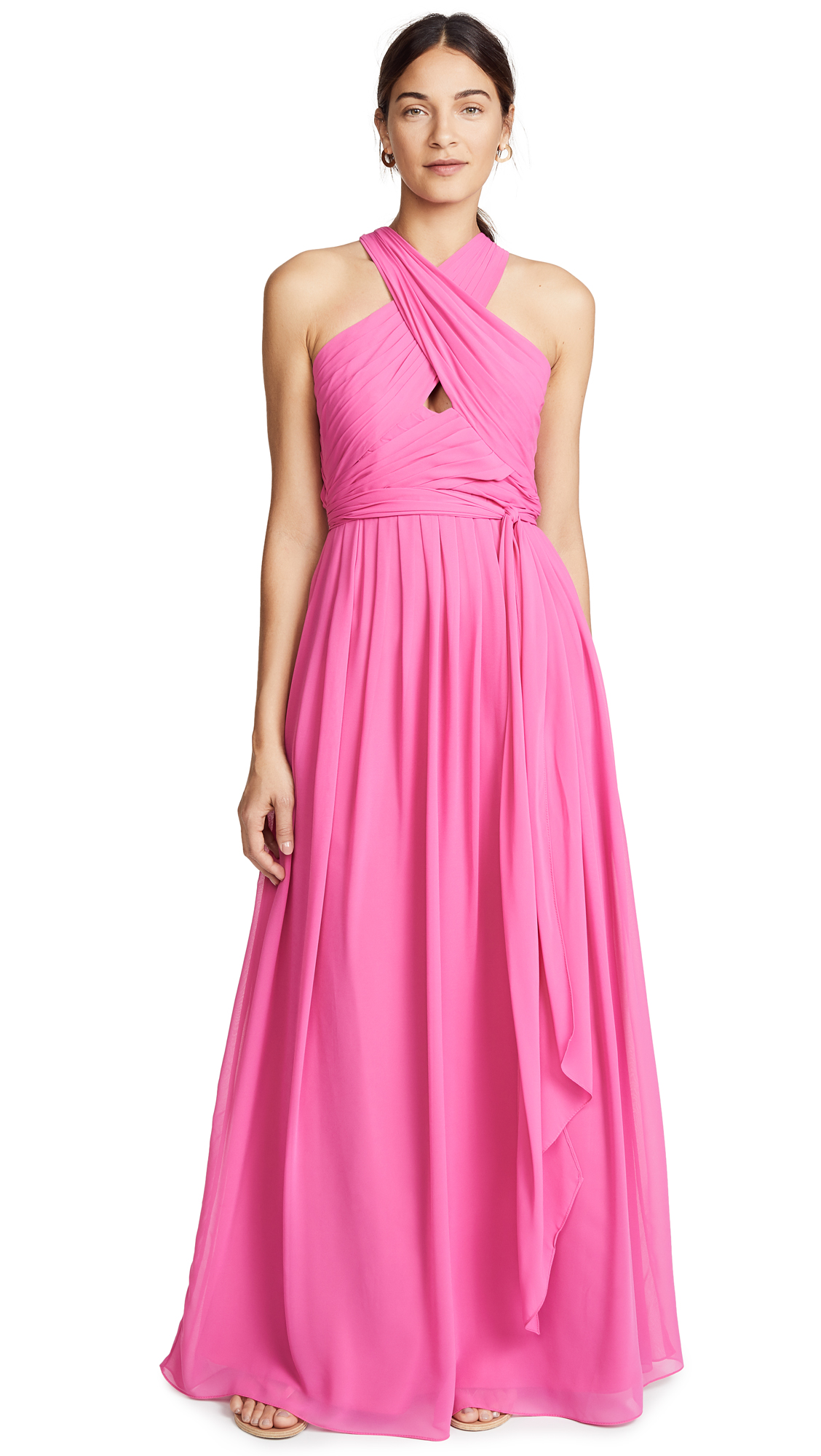 MONIQUE LHUILLIER BRIDESMAIDS Halter Gown With Cutout in Peony