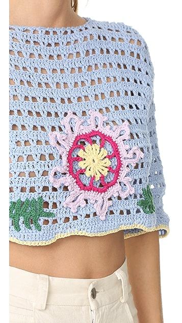 Michaela Buerger Romantic Flowers Crochet Top