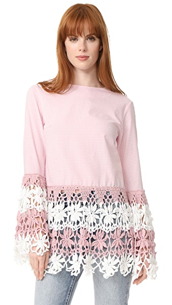 Michaela Buerger Long Sleeve Top - Light Pink/White