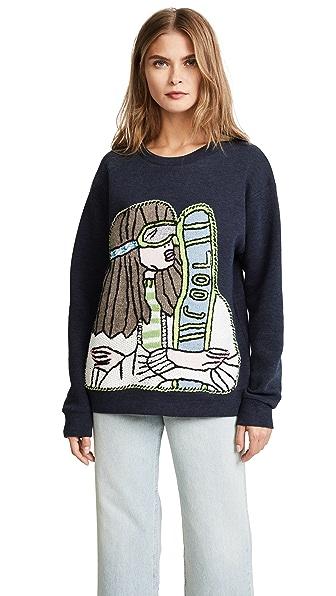 Michaela Buerger Skiing Girl Sweatshirt In Blue