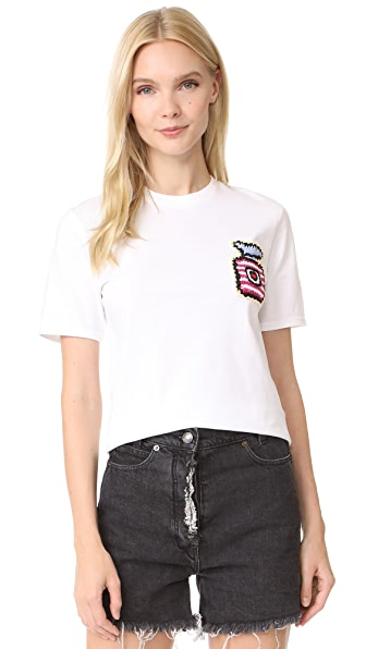 Michaela Buerger Cropped Tee with Perfume Bottle Patch - White/Pink