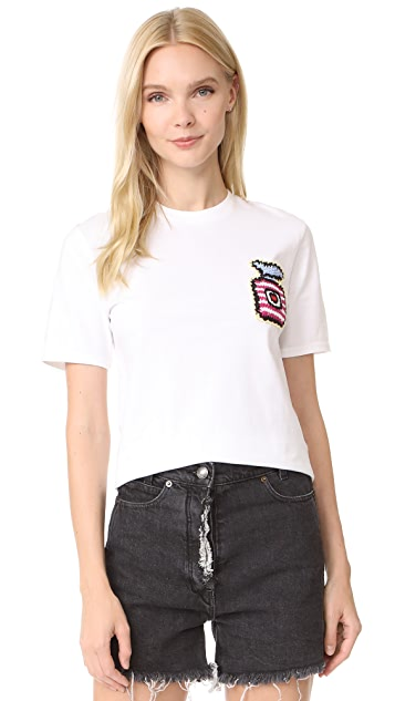 Michaela Buerger Cropped Tee with Perfume Bottle Patch