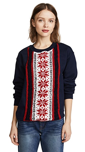 Michaela Buerger Stripe Snowflake Sweatshirt In Blue/Red