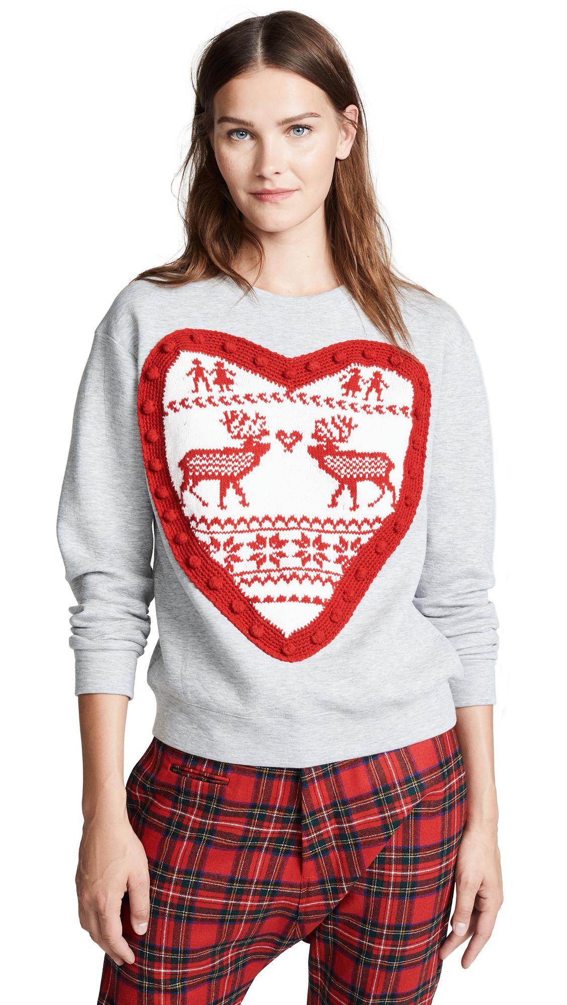 Michaela Buerger Heart Sweatshirt In Light Grey
