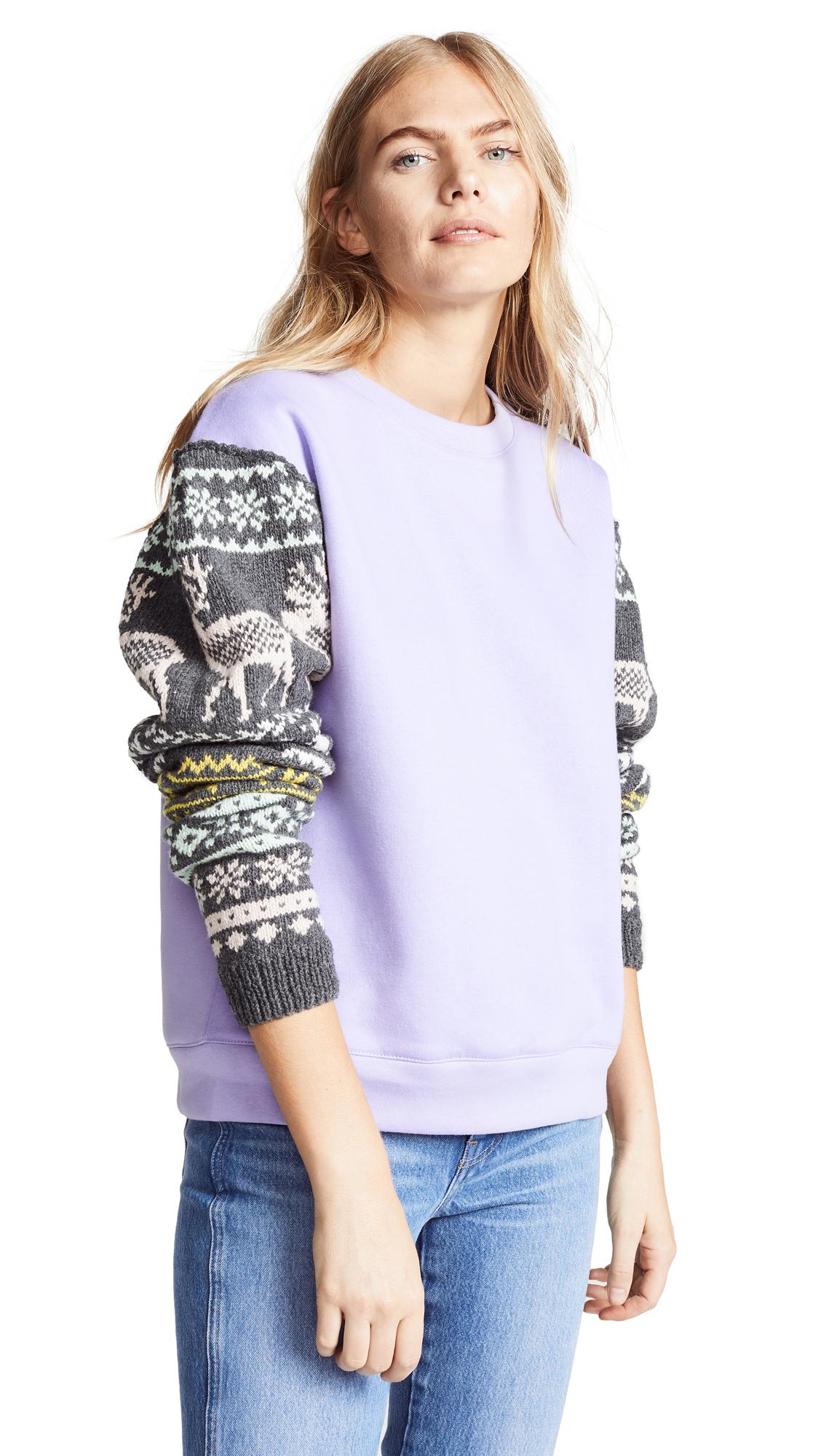 MICHAELA BUERGER Scandanavian Jacquard Sleeve Sweatshirt in Lilac