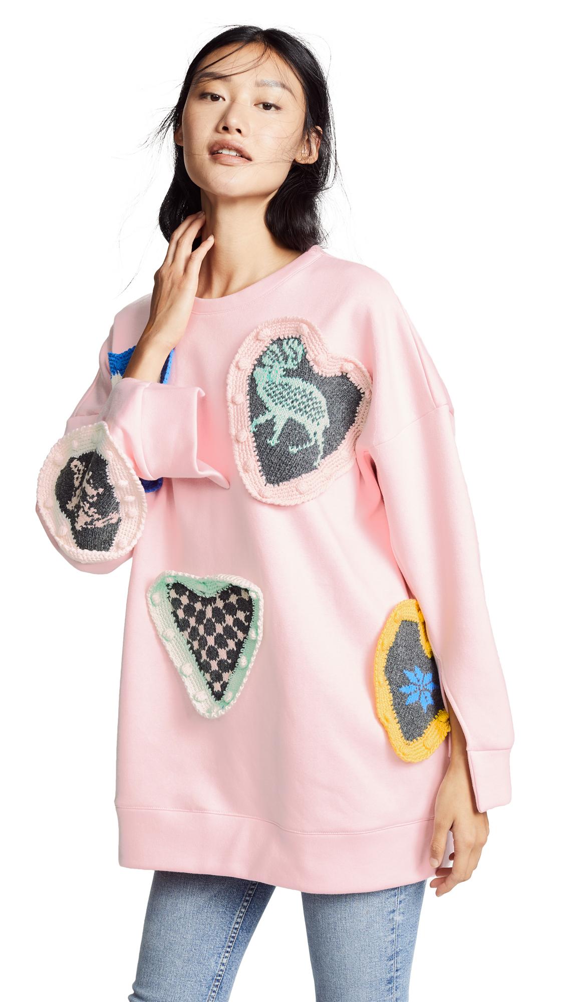 Michaela Buerger Scandanavian Love Sweatshirt In Light Pink