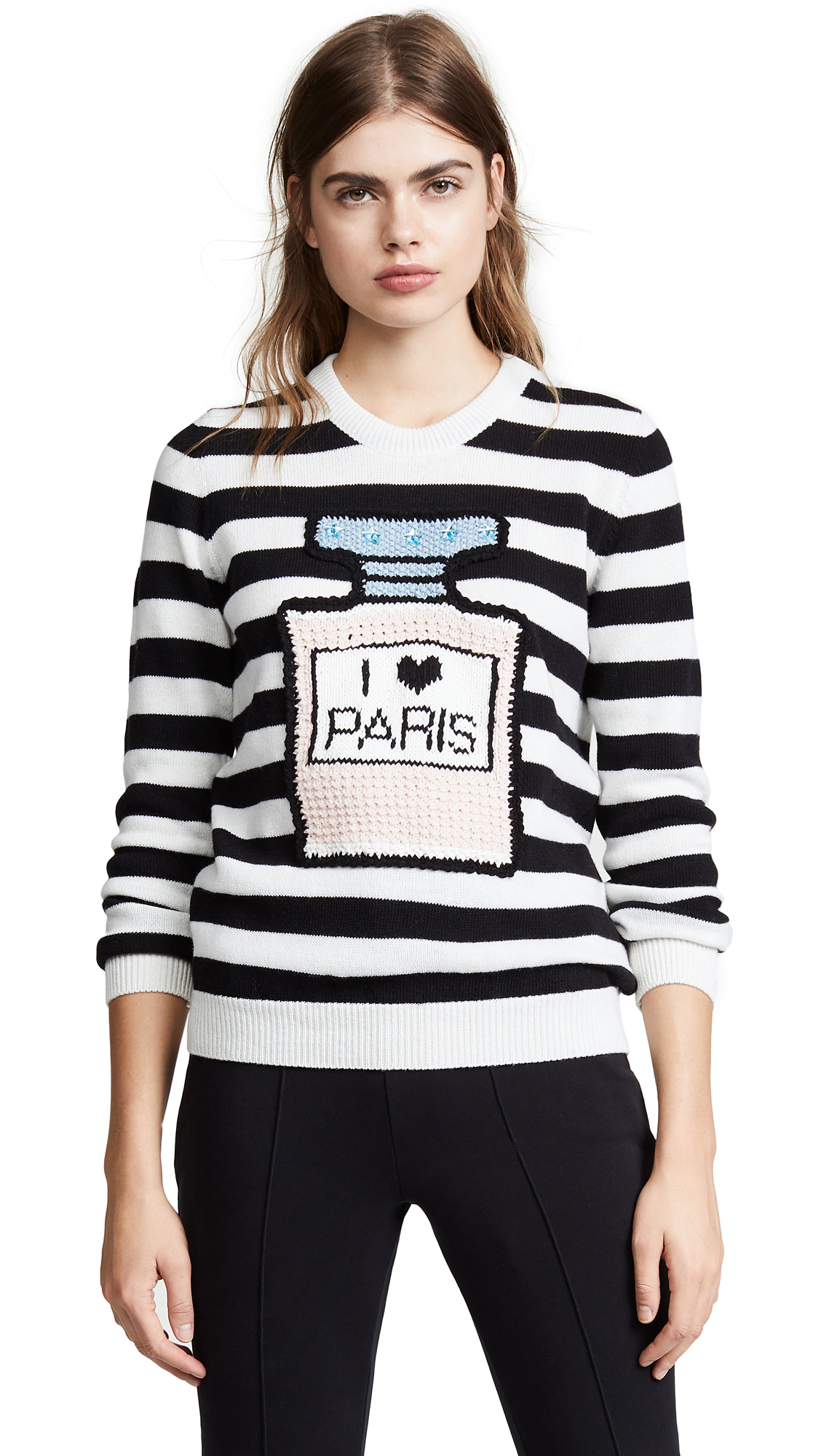 Michaela Buerger I Love Paris Striped Sweater In Black/White Stripe