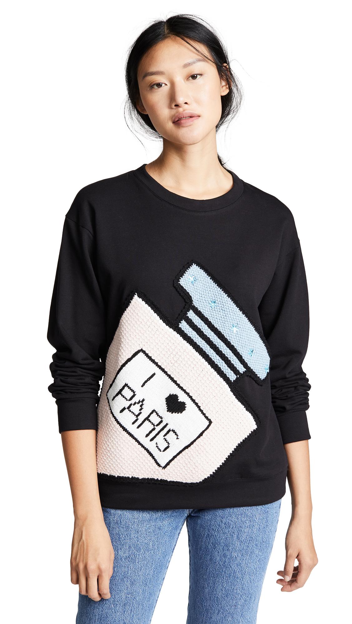 Michaela Buerger I Love Paris Perfume Bottle Sweatshirt In Black