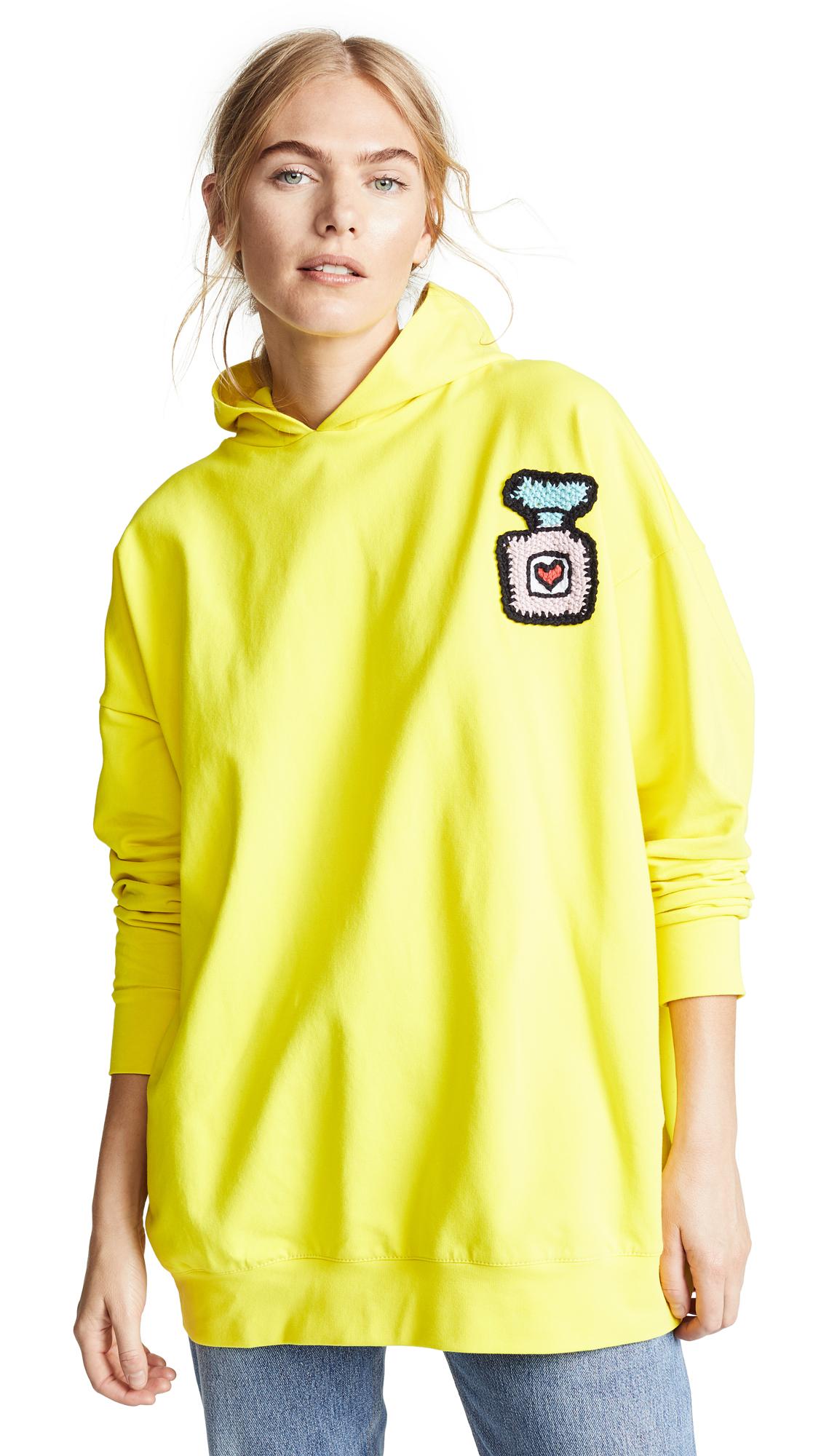 MICHAELA BUERGER Oversized Perfume Bottle Hoodie in Yellow
