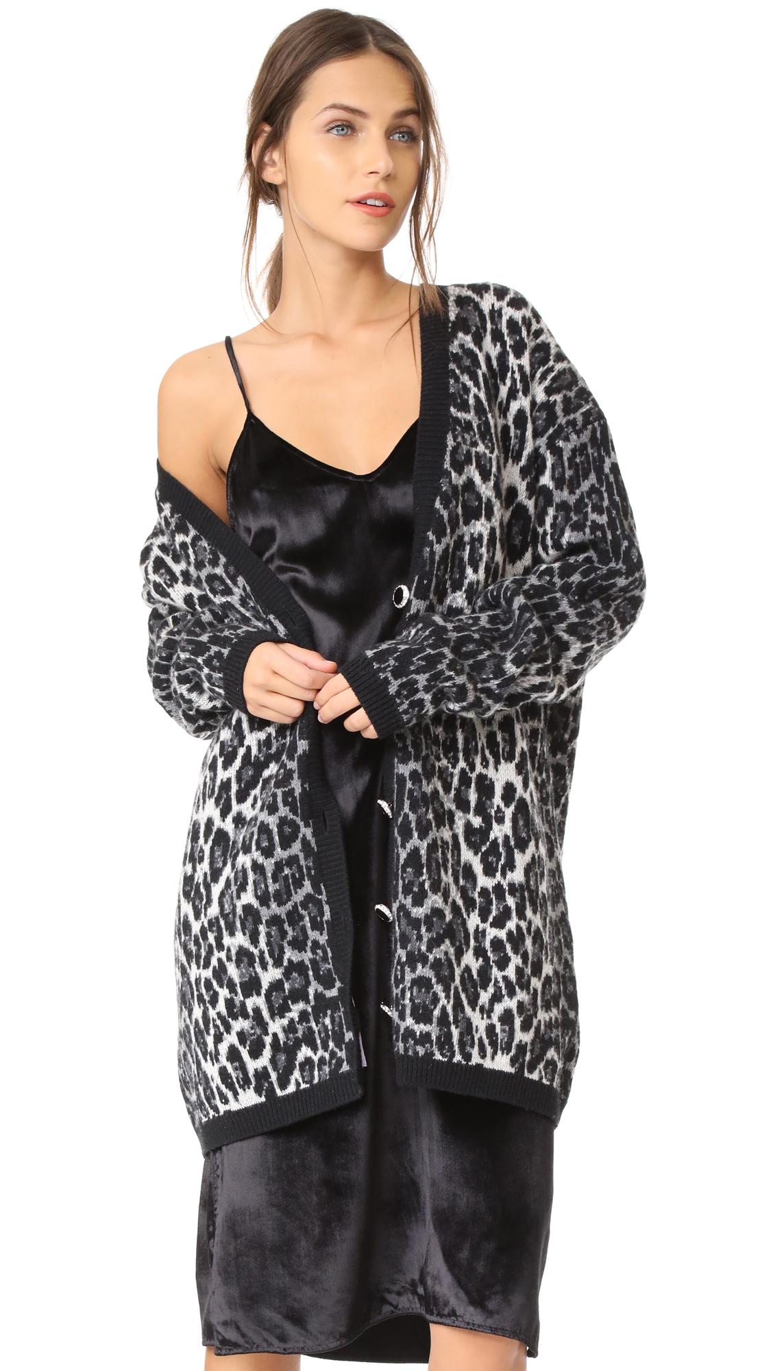 Magda Butrym Leopard Oversized Cardigan - Grey