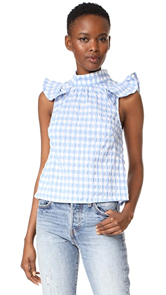 McGuire Denim Florentine Ruffle Top In Sky Gingham