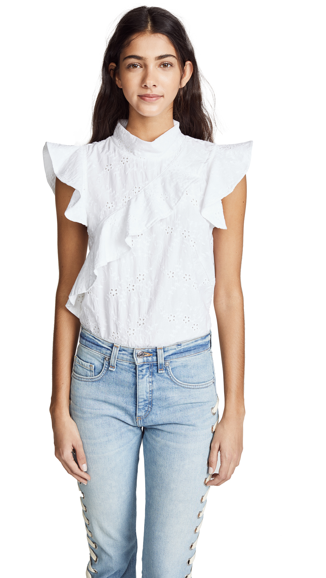 McGuire Denim Sorbonne Top In White Eyelet