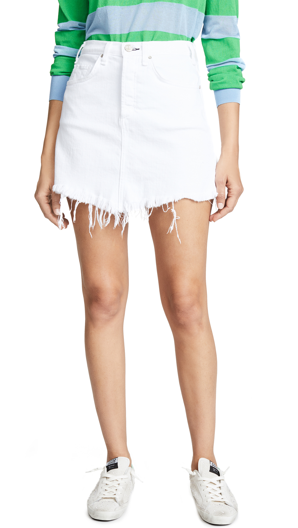 McGuire Denim Izabel High Rise Miniskirt In White Lie