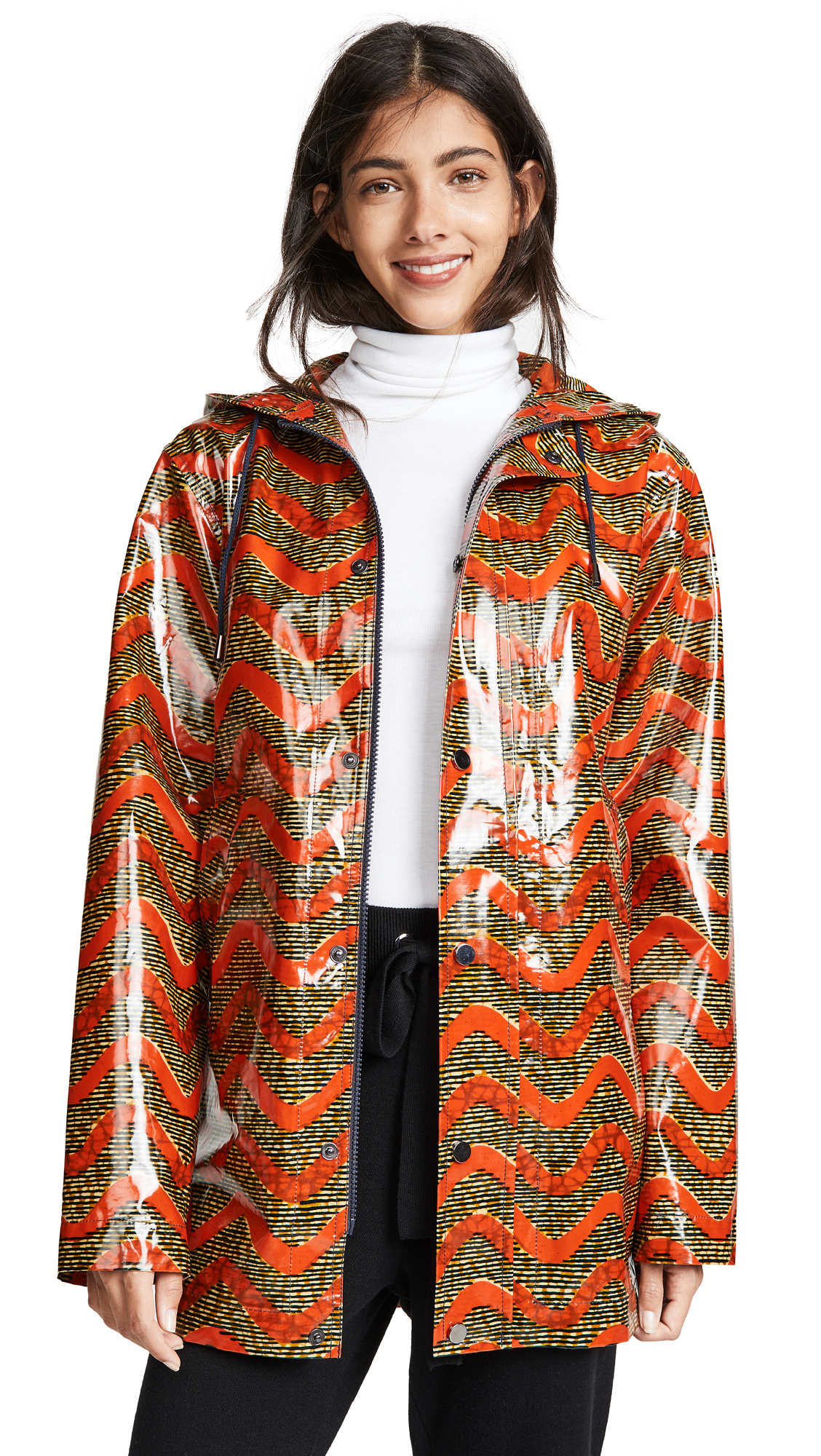 MAISON CHATEAU ROUGE Printed Rain Coat in Tchatchatcha Orange