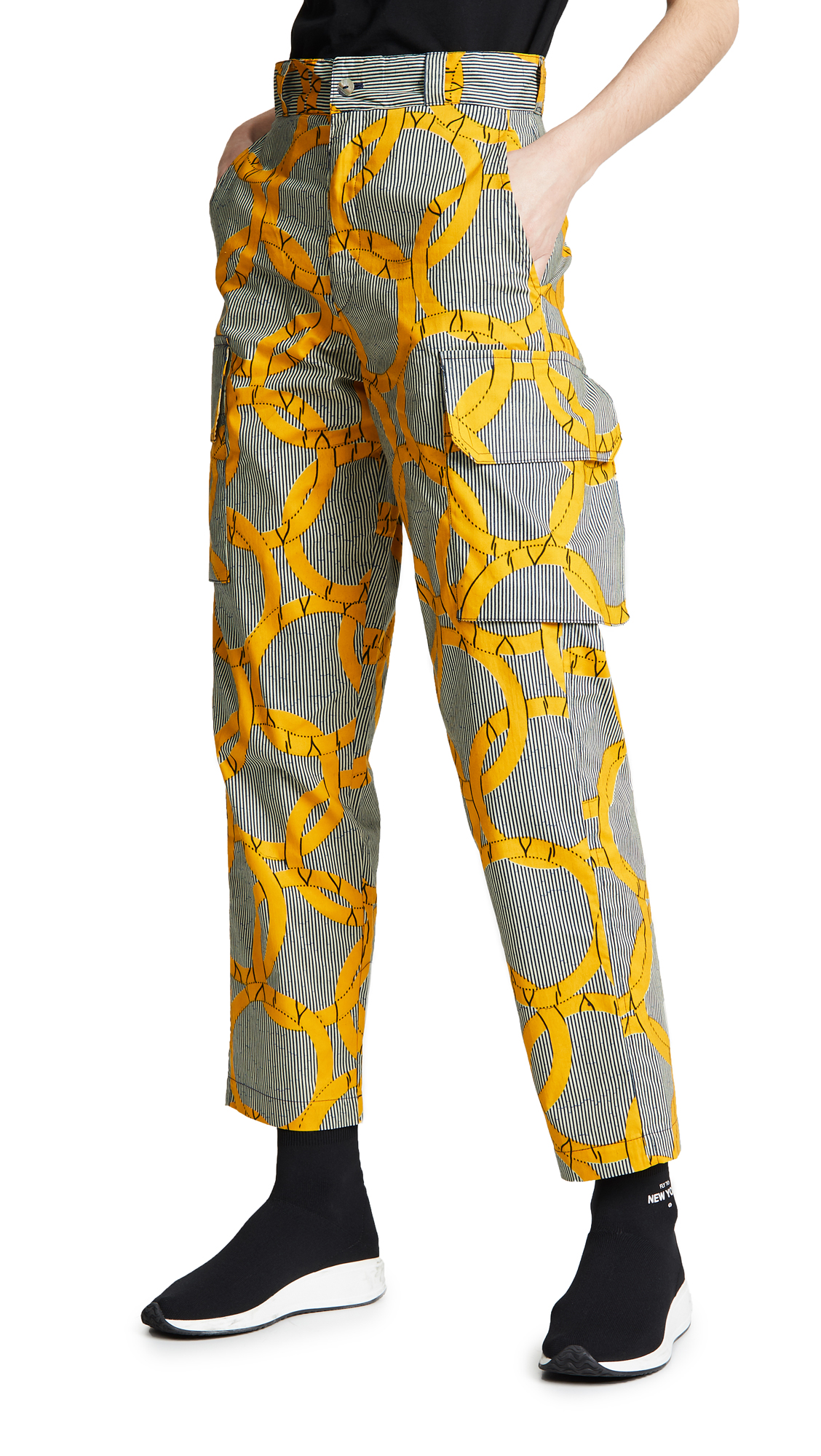 MAISON CHATEAU ROUGE Printed Cargo Pants in Olympique Jaune