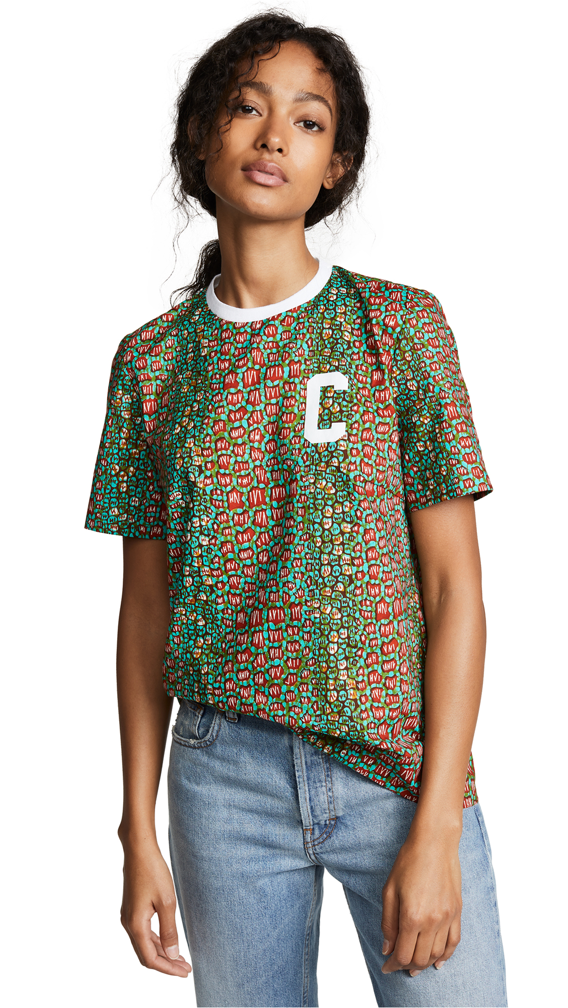 MAISON CHATEAU ROUGE Multi Patterened Logo Tee in Croco Vert