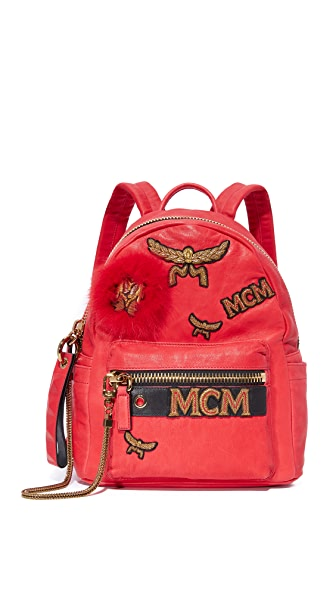 MCM Insignia Backpack - Ruby Red